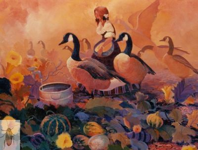 00054 Gourds, Geese, and Gerta 24 x 30 (400)