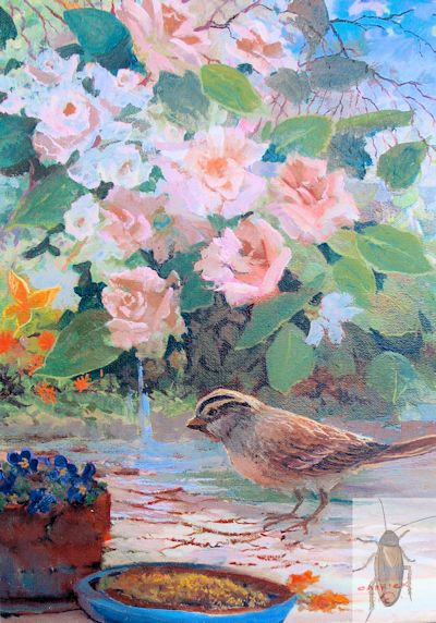 01355 Sparrow amid Roses 9 x 12 (400)